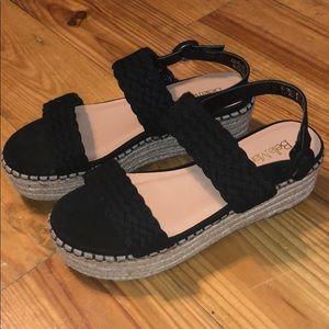 Never Worn Suede Espadrille Black Strap Flatforms